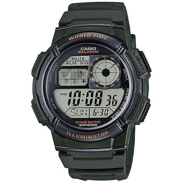 Электронные часы Casio Collection Ae-1000w-3a Green/Black