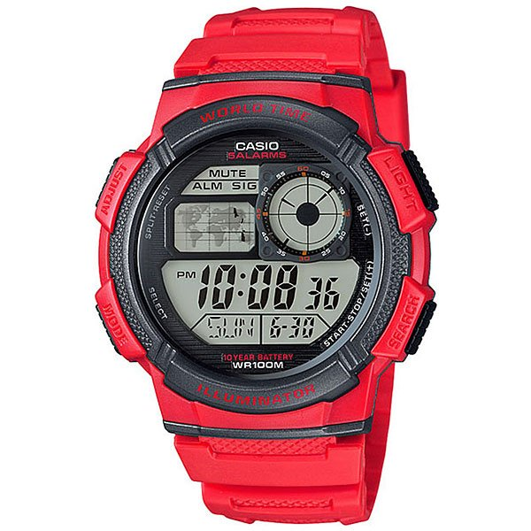 Электронные часы Casio Collection Ae-1000w-4a Red/Black