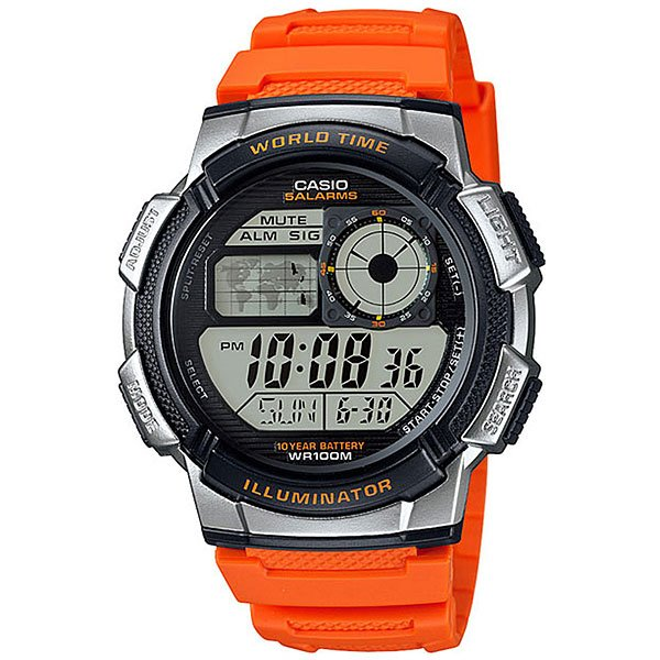 Электронные часы Casio Collection Ae-1000w-4b Orange/Black/Grey
