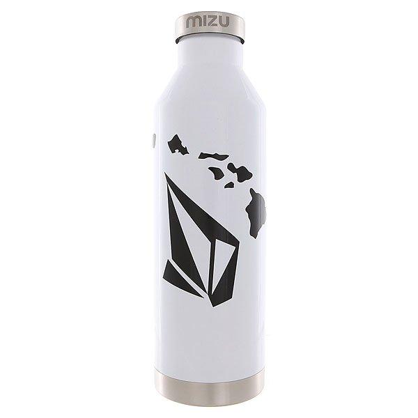 Бутылка для воды Mizu Volcom V8 Stone Hawaii Glossy White Black PrintБутылка для воды из нержавеющей стали. Благодаря двойной конструкции стенок и теплоизоляционной крышке, эта модель больше подходит для хранения горячих напитков в холодных условиях. Совместный дизайн от Mizu и Volcom.Технические характеристики: Материал - пищевая нержавеющая сталь 18/8.Объем - 800 мл.Не содержит бисфенола (BPA Free).Теплоизоляционная крышка.Двухслойная конструкция.Вакуумная структура.Подходит для холодных и горячих напитков.Эргономичная форма позволяет использовать бутылку в качестве шейкера.Однотонный дизайн с логотипом Volcom и Mizu.<br><br>Цвет: белый<br>Тип: Бутылка для воды