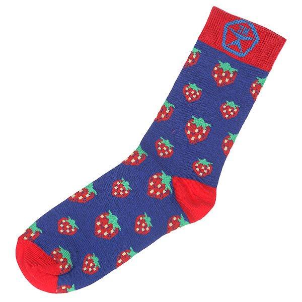 Носки средние женские Запорожец Клубника Синий/Красный носки средние женские запорожец лук белый оранжевый