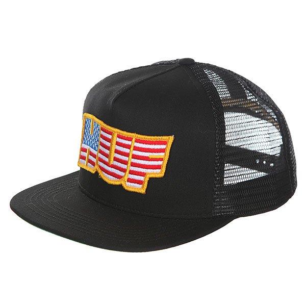 Бейсболка с сеткой Huf Usa Trucker Black<br><br>Цвет: черный<br>Тип: Бейсболка с сеткой<br>Возраст: Взрослый<br>Пол: Мужской