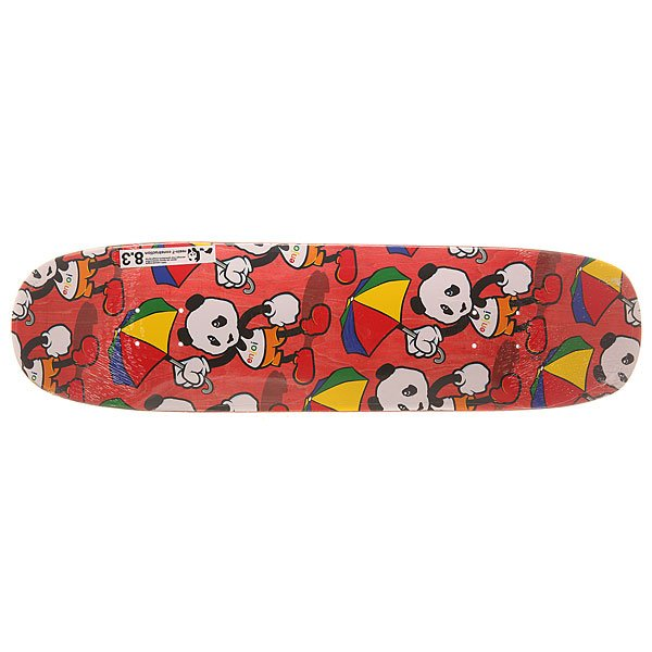Дека для скейтборда для лонгборда Enjoi S6 Cartoon R7 Multi Panda Red 31.8 x 8.375 (21.3 см)