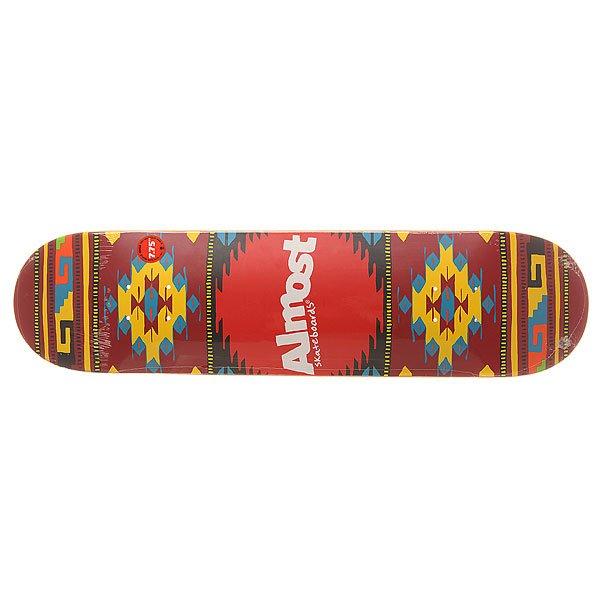 Дека для скейтборда для скейтборда Almost S6 Hyb Aztek Lava 31.2 x 7.75 (19.7 см)Ширина деки: 7.75 (19.7 см)    Длина деки: 31.2 (79.2 см)    Количество слоев: 7Легкая и прочная дека из прессованного 100% канадского клена с добавлением клея из эпоксидной смолы. Подходит для любого стиля катания на любой местности.Технические характеристики: Прессованная конструкция RESIN-7 из 7 слоев канадского клена и клея из эпоксидной смолы.Конкейв Full.Колесная база 35,26 см.<br><br>Цвет: мультиколор<br>Тип: Дека для скейтборда<br>Возраст: Взрослый<br>Пол: Мужской