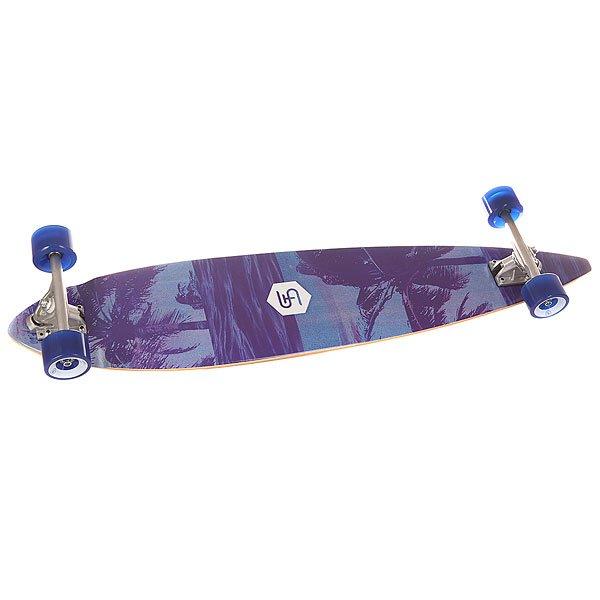 Лонгборд St Palmtree Multicolour 9 x 42 (107 см)Лонгборд  из натурального клена в сборе.Технические характеристики: Материал - клен.Конкейв W-shape.Шкурка с логотипом.Длина деки - 107 см, ширина - 23 см.Алюминиевая подвеска Randal   - 18 см.Классический King Pin Truck Style.Колеса 70x50 мм, 78A.<br><br>Цвет: голубой,фиолетовый<br>Тип: Лонгборд<br>Возраст: Взрослый<br>Пол: Мужской