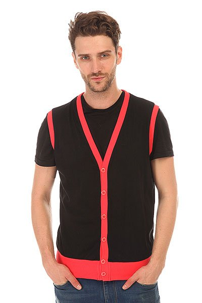 Жилетка Urban Classics Jersey Button Vest Black-infrared
