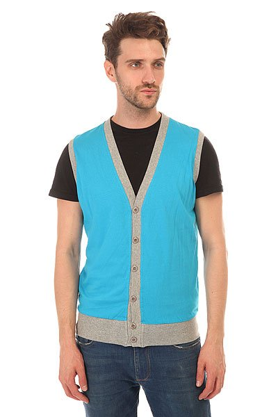 Жилетка Urban Classics Jersey Button Vest Turquoise/Grey