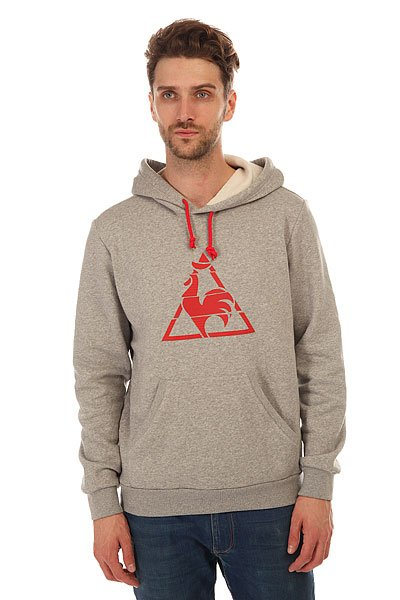 Толстовка кенгуру Le Coq Sportif Chronic Po Hood Light Heather Grey толстовка кенгуру quiksilver keller hood wild ginger