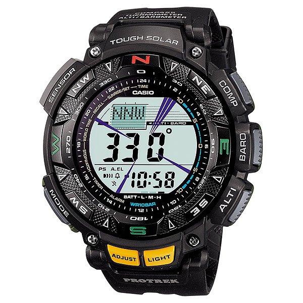 Электронные часы Casio Sport PRG-240-1E BlackФункциональные наручные часы в спортивном корпусе из полимерного пластика. Часы обладают широким набором опций, которые просто незаменимы при длительных поездках или путешествии, а также для людей, чей образ жизни тесно связан со спортом.Технические характеристики: Полностью автоматическая подсветка.Устойчивый к низким температурам (-10 °C).Солнечная батарейка.Дуплексный ЖК-дисплей.Цифровой компас.Высотометр 10,000 м.График набора высоты.Данные о восходе/закате солнца.Барометр (260 / 1.100 гПа).Термометр (-10°C / +60°C).Память данных высотометра.Функция мирового времени.Функция секундомера- 1/100 сек. - 24 часа.Таймер - 1/1 мин. - 24 часа.5 ежедневных будильников.Включение/выключение звука кнопок.Автоматический календарь.12/24-часовое отображение времени.Безель с направлениями.Минеральное стекло.Корпус из полимерного пластика.Ремешок из полимерного материала.Индикатор уровня заряда батарейки.Точность +/- 15 сек в месяц.<br><br>Цвет: черный<br>Тип: Электронные часы<br>Возраст: Взрослый<br>Пол: Мужской