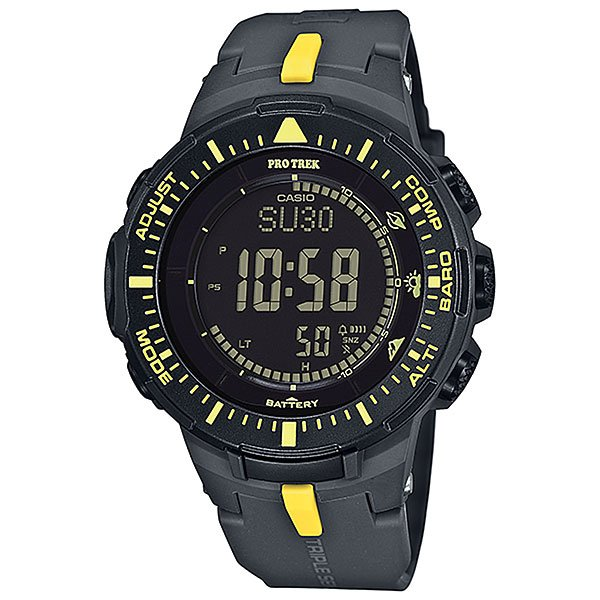 Электронные часы Casio Sport PRG-300-1A9 Grey/YellowФункциональные наручные часы в спортивном корпусе из полимерного пластика. Часы обладают широким набором опций, которые просто незаменимы при длительных поездках или путешествии, а также для людей, чей образ жизни тесно связан со спортом.Технические характеристики: Полностью автоматическая светодиодная подсветка.Устойчивый к низким температурам (-10 °C).Солнечная батарейка.Цифровой компас.Барометр (260 / 1.100 гПа).Термометр (-10°C / +60°C).Высотометр 10,000 м.График набора высоты.Память данных высотометра.Данные о восходе/закате солнца.Функция мирового времени.Функция секундомера - 1/10 сек - 1.000 часов.Таймер - 1/1 мин. - 24 часа.5 ежедневных будильников.Функция повтора будильника.Включение/выключение звука кнопок.Автоматический календарь.12/24-часовое отображение времени.Минеральное стекло.Корпус из полимерного пластика.Ремешок из полимерного материала.Индикатор уровня заряда батарейки.Точность +/- 15 сек в месяц.<br><br>Цвет: серый,желтый<br>Тип: Электронные часы<br>Возраст: Взрослый<br>Пол: Мужской