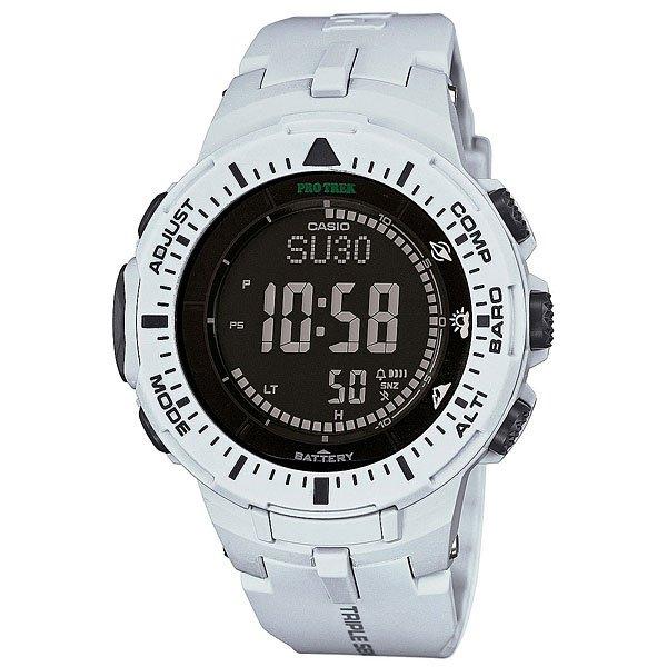 Электронные часы Casio Sport PRG-300-7E WhiteФункциональные наручные часы в спортивном корпусе из полимерного пластика. Часы обладают широким набором опций, которые просто незаменимы при длительных поездках или путешествии, а также для людей, чей образ жизни тесно связан со спортом.Технические характеристики: Полностью автоматическая светодиодная подсветка.Устойчивый к низким температурам (-10 °C).Солнечная батарейка.Цифровой компас.Барометр (260 / 1.100 гПа).Термометр (-10°C / +60°C).Высотометр 10,000 м.График набора высоты.Память данных высотометра.Данные о восходе/закате солнца.Функция мирового времени.Функция секундомера - 1/10 сек - 1.000 часов.Таймер - 1/1 мин. - 24 часа.5 ежедневных будильников.Функция повтора будильника.Включение/выключение звука кнопок.Автоматический календарь.12/24-часовое отображение времени.Минеральное стекло.Корпус из полимерного пластика.Ремешок из полимерного материала.Индикатор уровня заряда батарейки.Точность +/- 15 сек в месяц.<br><br>Цвет: белый<br>Тип: Электронные часы<br>Возраст: Взрослый<br>Пол: Мужской