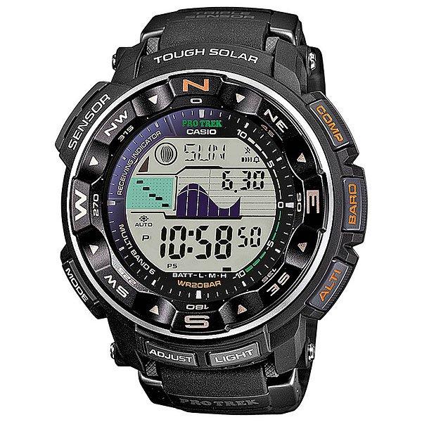 Электронные часы Casio Sport PRW-2500-1E BlackМужские наручные часы в стильном дизайне с отличным функционалом. Данная модель часов не оставит равнодушным никого!Технические характеристики: Полностью автоматическая подсветка.Устойчивый к низким температурам (-10 °C).Солнечная батарейка Tough Solar.Прием радиосигнала (Европа, США, Япония, Китай).Дуплексный ЖК-дисплей.Цифровой компас.Высотометр 10,000 м.График набора высоты.Память данных высотометра.Барометр (260 / 1.100 гПа).Термометр (-10°C / +60°C).Отображение данных о луне.Отображение графика приливов.Функция мирового времени.Функция секундомера- 1/100 сек. - 24 часа.Таймер - 1/1 мин. - 1 час.Яхт-таймер без функции автоматического повтора.5 ежедневных будильников.Включение/выключение звука кнопок.Автоматический календарь.12/24-часовое отображение времени.Безель с направлениями.Минеральное стекло.Корпус из полимерного пластика.Ремешок из полимерного материала.Индикатор уровня заряда батарейки.<br><br>Цвет: черный<br>Тип: Электронные часы<br>Возраст: Взрослый<br>Пол: Мужской