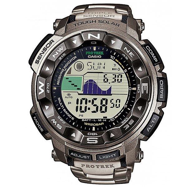 Электронные часы Casio Sport PRW-2500t-7E GreyМужские наручные часы в стильном дизайне с отличным функционалом. Данная модель часов имеет корпус из полимерного пластика и прочный браслет из титанового сплава.Технические характеристики: Полностью автоматическая подсветка.Устойчивый к низким температурам (-10 °C).Солнечная батарейка Tough Solar.Прием радиосигнала (Европа, США, Япония, Китай).Дуплексный ЖК-дисплей.Цифровой компас.Высотометр 10,000 м.График набора высоты.Память данных высотометра.Барометр (260 / 1.100 гПа).Термометр (-10°C / +60°C).Отображение данных о луне.Отображение графика приливов.Функция мирового времени.Функция секундомера- 1/100 сек. - 24 часа.Таймер - 1/1 мин. - 1 час.Яхт-таймер без функции автоматического повтора.5 ежедневных будильников.Включение/выключение звука кнопок.Автоматический календарь.12/24-часовое отображение времени.Безель с направлениями.Минеральное стекло.Корпус из полимерного пластика.Браслет из прочного титанового сплава.Предохранительная защелка.Индикатор уровня заряда батарейки.<br><br>Цвет: серый<br>Тип: Электронные часы<br>Возраст: Взрослый<br>Пол: Мужской