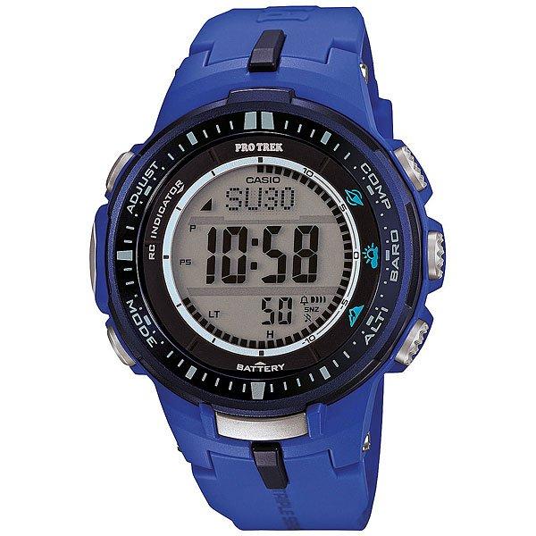 Электронные часы Casio Sport PRW-3000-2B BlueФункциональные наручные часы в лаконичном спортивном корпусе из полимерного пластика. Часы с отличным набором опций, которые просто необходимы каждому путешественнику!Технические характеристики: Сверх мощная полностью автоматическая светодиодная подсветка.Устойчивый к низким температурам (-10 °C).Солнечная батарейка.Прием радиосигнала (Европа, США, Япония, Китай).Барометр (260 / 1.100 гПа).Термометр (-10°C / +60°C).Цифровой компас.Высотометр 10,000 м.График набора высоты.Память данных высотометра.Данные о восходе/закате солнца.Функция мирового времени.Функция секундомера - 1/10 сек - 1.000 часов.Таймер - 1/1 мин. - 24 часа.5 ежедневных будильников.Функция повтора будильника.Включение/выключение звука кнопок.Автоматический календарь.12/24-часовое отображение времени.Минеральное стекло.Корпус из полимерного пластика.Ремешок из полимерного материала.Индикатор уровня заряда батарейки.<br><br>Цвет: синий<br>Тип: Электронные часы<br>Возраст: Взрослый<br>Пол: Мужской