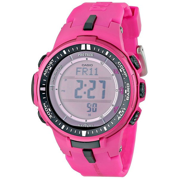 Электронные часы женские Casio Sport PRW-3000-4B Pink casio watch solar outdoor sports climbing table waterproof male watch prw 3000 1a prw 3000 1d prw 3000 2b prw 3000 4b
