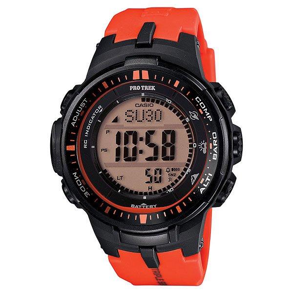 Электронные часы Casio Sport PRW-3000-4E Orange/BlackФункциональные наручные часы в лаконичном спортивном корпусе из полимерного пластика. Часы с отличным набором опций, которые просто необходимы каждому путешественнику!Технические характеристики: Сверх мощная полностью автоматическая светодиодная подсветка.Устойчивый к низким температурам (-10 °C).Солнечная батарейка.Прием радиосигнала (Европа, США, Япония, Китай).Барометр (260 / 1.100 гПа).Термометр (-10°C / +60°C).Цифровой компас.Высотометр 10,000 м.График набора высоты.Память данных высотометра.Данные о восходе/закате солнца.Функция мирового времени.Функция секундомера - 1/10 сек - 1.000 часов.Таймер - 1/1 мин. - 24 часа.5 ежедневных будильников.Функция повтора будильника.Включение/выключение звука кнопок.Автоматический календарь.12/24-часовое отображение времени.Минеральное стекло.Корпус из полимерного материала.Ремешок из полимерного материала.Индикатор уровня заряда батарейки.<br><br>Цвет: черный,оранжевый<br>Тип: Электронные часы<br>Возраст: Взрослый<br>Пол: Мужской