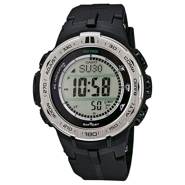 Электронные часы Casio Sport PRW-3100-1E BlackФункциональные наручные часы в лаконичном спортивном корпусе из полимерного пластика. Часы с отличным набором опций, которые просто необходимы каждому путешественнику!Технические характеристики: Сверх мощная полностью автоматическая светодиодная подсветка.Устойчивый к низким температурам (-10 °C).Солнечная батарейка.Прием радиосигнала (Европа, США, Япония, Китай).Барометр (260 / 1.100 гПа).Термометр (-10°C / +60°C).Цифровой компас.Высотометр 10,000 м.График набора высоты.Память данных высотометра.Данные о восходе/закате солнца.Функция мирового времени.Функция секундомера - 1/10 сек - 1.000 часов.Таймер - 1/1 мин. - 24 часа.5 ежедневных будильников.Функция повтора будильника.Включение/выключение звука кнопок.Автоматический календарь.12/24-часовое отображение времени.Минеральное стекло.Корпус из полимерного пластика.Ремешок из полимерного материала.Индикатор уровня заряда батарейки.<br><br>Цвет: черный<br>Тип: Электронные часы<br>Возраст: Взрослый<br>Пол: Мужской