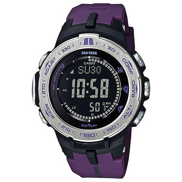 Электронные часы Casio Sport PRW-3100-6E PurpleФункциональные наручные часы в лаконичном спортивном корпусе из полимерного пластика. Часы с отличным набором опций, которые просто необходимы каждому путешественнику!Технические характеристики: Сверх мощная полностью автоматическая светодиодная подсветка.Устойчивый к низким температурам (-10 °C).Солнечная батарейка.Прием радиосигнала (Европа, США, Япония, Китай).Барометр (260 / 1.100 гПа).Термометр (-10°C / +60°C).Цифровой компас.Высотометр 10,000 м.График набора высоты.Память данных высотометра.Данные о восходе/закате солнца.Функция мирового времени.Функция секундомера - 1/10 сек - 1.000 часов.Таймер - 1/1 мин. - 24 часа.5 ежедневных будильников.Функция повтора будильника.Включение/выключение звука кнопок.Автоматический календарь.12/24-часовое отображение времени.Минеральное стекло.Корпус из полимерного пластика.Ремешок из полимерного материала.Индикатор уровня заряда батарейки.<br><br>Цвет: фиолетовый<br>Тип: Электронные часы<br>Возраст: Взрослый<br>Пол: Мужской