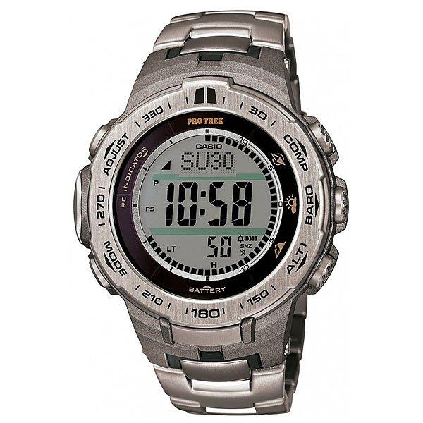 Электронные часы Casio Sport PRW-3100t-7E GreyФункциональные наручные часы в лаконичном спортивном корпусе из полимерного пластика с прочным браслетом из титанового сплава. Часы с отличным набором опций, которые просто необходимы каждому путешественнику!Технические характеристики: Сверх мощная полностью автоматическая светодиодная подсветка.Устойчивый к низким температурам (-10 °C).Солнечная батарейка.Прием радиосигнала (Европа, США, Япония, Китай).Барометр (260 / 1.100 гПа).Термометр (-10°C / +60°C).Цифровой компас.Высотометр 10,000 м.График набора высоты.Память данных высотометра.Данные о восходе/закате солнца.Функция мирового времени.Функция секундомера - 1/10 сек - 1.000 часов.Таймер - 1/1 мин. - 24 часа.5 ежедневных будильников.Функция повтора будильника.Включение/выключение звука кнопок.Автоматический календарь.12/24-часовое отображение времени.Минеральное стекло.Корпус из полимерного пластика.Браслет из прочного титанового сплава.Предохранительная защелка.Индикатор уровня заряда батарейки.<br><br>Цвет: серый<br>Тип: Электронные часы<br>Возраст: Взрослый<br>Пол: Мужской