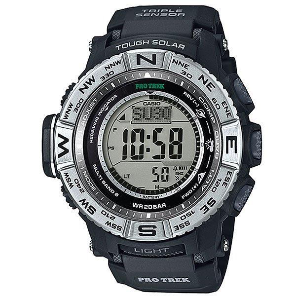 Электронные часы Casio Sport PRW-3500-1E BlackФункциональные наручные часы в динамичном спортивном корпусе из полимерного пластика. Часы с отличным набором опций, которые просто необходимы каждому путешественнику!Технические характеристики: Сверх мощная полностью автоматическая светодиодная подсветка.Устойчивый к низким температурам (-10 °C).Солнечная батарейка.Прием радиосигнала (Европа, США, Япония, Китай).Барометр (260 / 1.100 гПа).Термометр (-10°C / +60°C).Цифровой компас.Высотометр 10,000 м.График набора высоты.Память данных высотометра.Данные о восходе/закате солнца.Функция мирового времени.Функция секундомера - 1/10 сек - 1.000 часов.Таймер - 1/1 мин. - 24 часа.5 ежедневных будильников.Функция повтора будильника.Включение/выключение звука кнопок.Автоматический календарь.12/24-часовое отображение времени.Безель с направлениями.Минеральное стекло.Корпус из полимерного пластика.Ремешок из полимерного материала.Индикатор уровня заряда батарейки.<br><br>Цвет: черный<br>Тип: Электронные часы<br>Возраст: Взрослый<br>Пол: Мужской