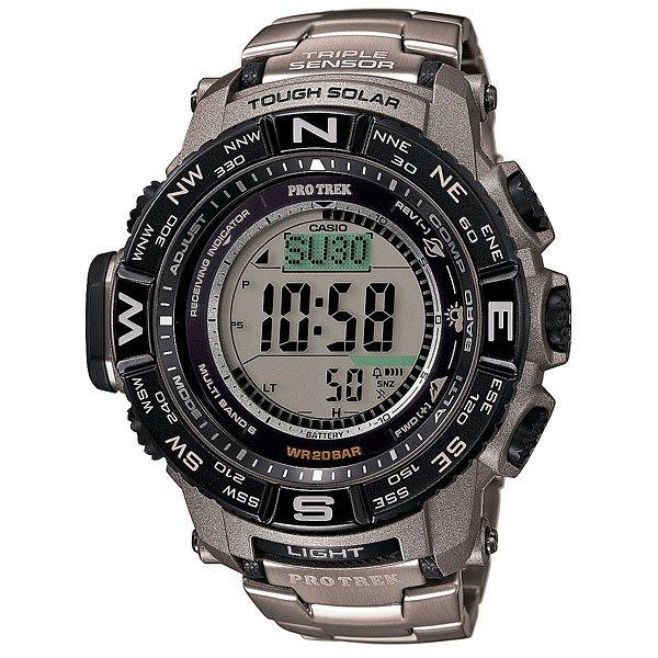 Электронные часы Casio Sport PRW-3500T-7E GreyФункциональные наручные часы в динамичном спортивном корпусе из полимерного пластика с браслетом из титанового сплава. Часы с отличным набором опций, которые просто необходимы каждому путешественнику!Технические характеристики: Сверх мощная полностью автоматическая светодиодная подсветка.Устойчивый к низким температурам (-10 °C).Солнечная батарейка.Прием радиосигнала (Европа, США, Япония, Китай).Барометр (260 / 1.100 гПа).Термометр (-10°C / +60°C).Цифровой компас.Высотометр 10,000 м.График набора высоты.Память данных высотометра.Данные о восходе/закате солнца.Функция мирового времени.Функция секундомера - 1/10 сек - 1.000 часов.Таймер - 1/1 мин. - 24 часа.5 ежедневных будильников.Функция повтора будильника.Включение/выключение звука кнопок.Автоматический календарь.12/24-часовое отображение времени.Безель с направлениями.Минеральное стекло.Корпус из полимерного пластика.Браслет из прочного титанового сплава.Предохранительная защелка.Индикатор уровня заряда батарейки.<br><br>Цвет: серый<br>Тип: Электронные часы<br>Возраст: Взрослый<br>Пол: Мужской