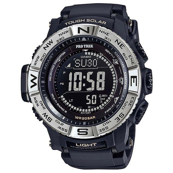 Электронные часы Casio Sport PRW-3510-1E BlackФункциональные наручные часы в динамичном спортивном корпусе из полимерного пластика. Часы с отличным набором опций, которые просто необходимы каждому путешественнику!Технические характеристики: Сверх мощная полностью автоматическая светодиодная подсветка.Устойчивый к низким температурам (-10 °C).Солнечная батарейка.Прием радиосигнала (Европа, США, Япония, Китай).Барометр (260 / 1.100 гПа).Термометр (-10°C / +60°C).Цифровой компас.Высотометр 10,000 м.График набора высоты.Память данных высотометра.Данные о восходе/закате солнца.Функция мирового времени.Функция секундомера - 1/10 сек - 1.000 часов.Таймер - 1/1 мин. - 24 часа.5 ежедневных будильников.Функция повтора будильника.Включение/выключение звука кнопок.Автоматический календарь.12/24-часовое отображение времени.Безель с направлениями.Минеральное стекло.Корпус из полимерного пластика.Ремешок из полимерного материала.Индикатор уровня заряда батарейки.<br><br>Цвет: черный<br>Тип: Электронные часы<br>Возраст: Взрослый<br>Пол: Мужской