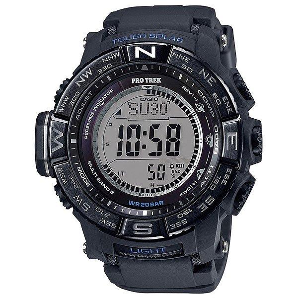 Электронные часы Casio Sport PRW-3510Y-1E BlackФункциональные наручные часы в динамичном спортивном корпусе из полимерного пластика. Часы с отличным набором опций, которые просто необходимы каждому путешественнику!Технические характеристики: Сверх мощная полностью автоматическая светодиодная подсветка.Устойчивый к низким температурам (-10 °C).Солнечная батарейка.Прием радиосигнала (Европа, США, Япония, Китай).Барометр (260 / 1.100 гПа).Термометр (-10°C / +60°C).Цифровой компас.Высотометр 10,000 м.График набора высоты.Память данных высотометра.Данные о восходе/закате солнца.Функция мирового времени.Функция секундомера - 1/10 сек - 1.000 часов.Таймер - 1/1 мин. - 24 часа.5 ежедневных будильников.Функция повтора будильника.Включение/выключение звука кнопок.Автоматический календарь.12/24-часовое отображение времени.Безель с направлениями.Минеральное стекло.Корпус из полимерного пластика.Ремешок из полимерного материала.Индикатор уровня заряда батарейки.<br><br>Цвет: черный<br>Тип: Электронные часы<br>Возраст: Взрослый<br>Пол: Мужской