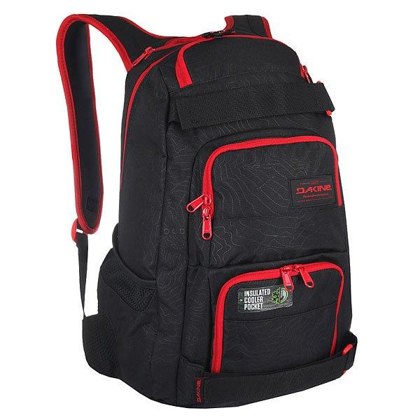 Рюкзак спортивный Dakine Duel PhoenixБольшой, функциональный и практичный рюкзак с ремнями для крепления скейта. В этом рюкзаке Вы найдете все, что Вам нужно - множество удобных отделений для самых разных вещей, а также практичный дизайн на каждый день.Технические характеристики: Материал - полиэстер 600D.Основное отделение на молнии.Мягкий карман для ноутбука с диагональю экрана 14.Ремни для скейтборда.Герметичный кулер-карман для еды и напитков.Органайзер.Карман на флисовой подкладке для солнцезащитных очков.Сетчатые боковые карманы.Регулируемый нагрудный ремень.Эргономичные плечевые ремни и ручка.Логотип Dakine.<br><br>Цвет: черный,красный<br>Тип: Рюкзак спортивный<br>Возраст: Взрослый