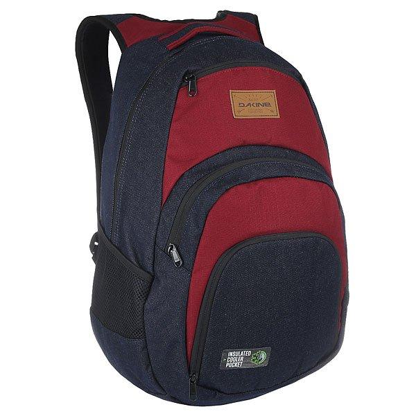 Рюкзак городской Dakine Campus DenimОбновленный Campus от Dakine является максимально всесторонним рюкзаком со специальным карманом для 17 ноутбука и отличными носибельными качествами. Он гений организации и предоставляет достаточное пространство для ваших книг, файлов и документов. Таким образом, он обязателен для повседневного использования в городе, школе или университете. Характеристики:Стеганый чехол на флисовой подкладке, подходит для большинства ноутбуков с диагональю экрана 17.Герметичный термо-карман. Задняя стенка и наплечные ремни из дышащего материала DriMesh®.Карман –органайзер.  Стеганое дно. Эргономичные смягченные плечевые лямки.<br><br>Цвет: бордовый,синий<br>Тип: Рюкзак городской<br>Возраст: Взрослый<br>Пол: Мужской
