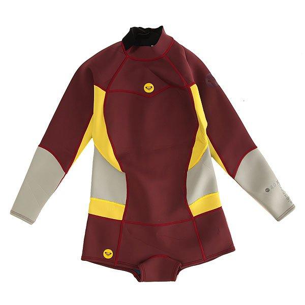 Гидрокостюм (Комбинезон) детский Roxy 2/2mm Back Zip Uni<br><br>Цвет: бордовый,желтый,серый<br>Тип: Гидрокостюм (Комбинезон)<br>Возраст: Детский