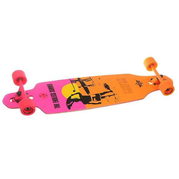 Лонгборд Dusters Endless Summer Wake Yellow/Orange/Pink 9.375 x 38 (96.5 см)Оригинальный лонгборд с дизайном от John Van Hamersveld.Технические характеристики: Инкрустированная открывалка для бутылок.Шкурка Clear.Тип крепления подвески Drop-through.Подвески Slant  reverse kingpin 180 мм.Подшипники Dusters Abec 7.Колеса 71 мм x 52мм 83A.<br><br>Цвет: оранжевый,розовый<br>Тип: Лонгборд<br>Возраст: Взрослый<br>Пол: Мужской