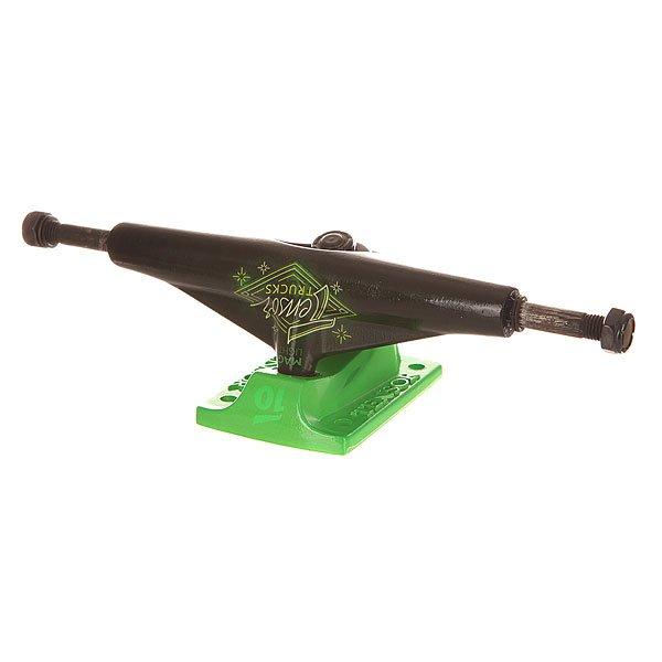 Подвеска для скейтборда Tensor Alum Lo Neon Logo Black/Toxic Green 5.5 (21 см)Ширина подвесок: 5.5 (21 см)    Высота подвесок: 50 мм    Цена указана за 1 шт<br><br>Цвет: зеленый,черный<br>Тип: Подвеска для скейтборда<br>Возраст: Взрослый<br>Пол: Мужской