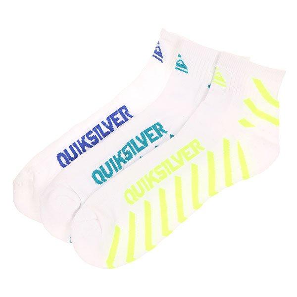 Носки средние Quiksilver Diagnal Stripe Qtr White<br><br>Цвет: белый,синий,зеленый,желтый<br>Тип: Носки средние<br>Возраст: Взрослый<br>Пол: Мужской