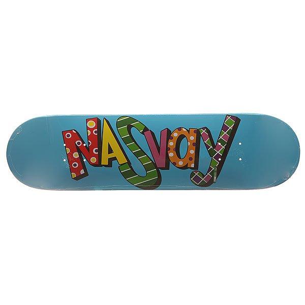 Дека для скейтборда для скейтборда Nasvay Eralash Wb Blue 31.5 x 8.0 (20.3 см)Ширина деки: 8.0 (20.3 см)    Длина деки: 31.5 (80 см)    Количество слоев: 7Качественная дека от российского производителя Nasvay.Технические характеристики: Конструкция из 7 слоев канадского клена.Водостойкий эпоксидный клей.Длина 80 см, ширина 20,3 см.Яркая графика от Nasvay.Деки изготовлены на заводе DWINDLE (DSM).<br><br>Цвет: голубой<br>Тип: Дека для скейтборда<br>Возраст: Взрослый<br>Пол: Мужской
