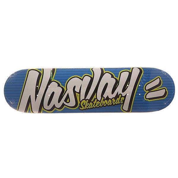 Дека для скейтборда для скейтборда Nasvay Street Series Funky Blue 32 x 8.25 (21 см)Ширина деки: 8.25 (21 см)    Длина деки: 32 (81.3 см)    Количество слоев: 7Качественная дека от российского производителя Nasvay.Технические характеристики: Конструкция из 7 слоев канадского клена.Водостойкий эпоксидный клей.Длина 81,3 см, ширина 21 см.Уличная графика от Nasvay.Деки изготовлены на заводе DWINDLE (DSM).<br><br>Цвет: синий,белый,черный<br>Тип: Дека для скейтборда<br>Возраст: Взрослый<br>Пол: Мужской