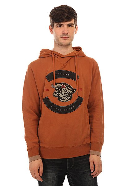 Толстовка кенгуру Insight Rebel Yell Cross Over Hood Fossil Brown толстовка кенгуру quiksilver keller hood wild ginger
