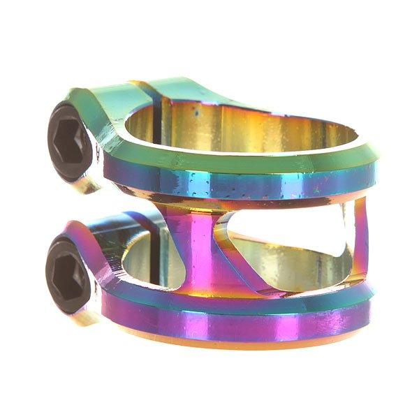 Зажимы Ethic Sylphe Clamp Double 31.8 RainbowДвойной алюминиевый зажим облегчённой конструкции.Характеристики:Подходит для оверсайз и стандартных рулей.Материал - алюминий. Подходит для руля 31,8 мм. 2 винта M8.<br><br>Цвет: мультиколор<br>Тип: Зажимы<br>Возраст: Взрослый<br>Пол: Мужской