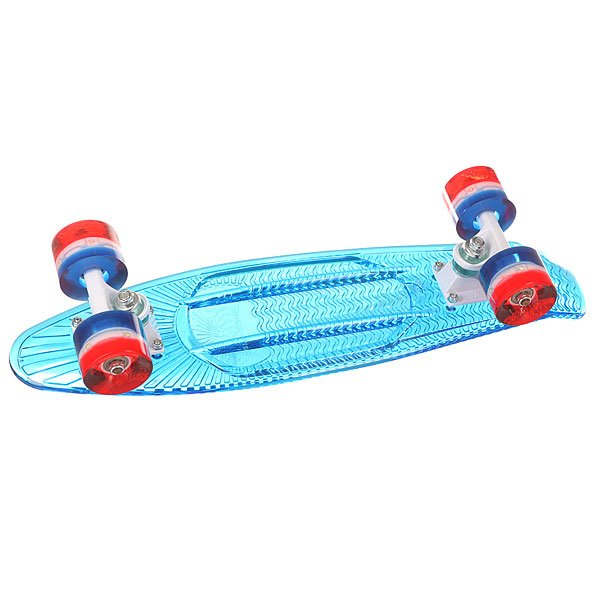 Скейт мини круизер Sunset Merica 22 Blue 5 x 22 (55.9 см)Стильный и яркий круизер со встроенными светодиодными колесами, которые работают без батареек. Скейт из прочного поликарбоната, который обеспечивает оптимальное сочетание прочности, гибкости и веса.Технические характеристики: Рифленая дека из поликарбоната.Длина - 55,8 см, ширина - 12,7 см.Колесная база 27,9 см.Надежная подвеска из авиационного алюминия 7,62 см.Полиуретановые колеса 59мм 78А.Светодиодные колеса работают без батареек до 100000 часов.<br><br>Цвет: синий<br>Тип: Скейт мини круизер