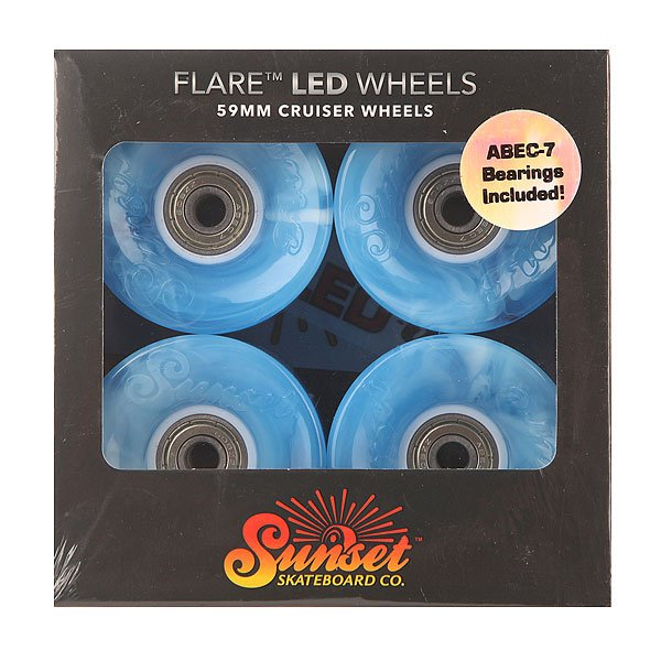 Колеса для скейтборда для лонгборда Sunset Cruiser Wheel With Abec7 Swirl Blue 78A 59 mmДиаметр: 59 mm    Жесткость: 78A    Цена указана за комплект из 4-х колес<br><br>Цвет: голубой<br>Тип: Колеса для лонгборда<br>Возраст: Взрослый<br>Пол: Мужской
