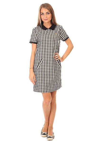 Платье женское Fred Perry A Line Gingham Dress White/Black fred perry ремень fred perry woven cord belt black
