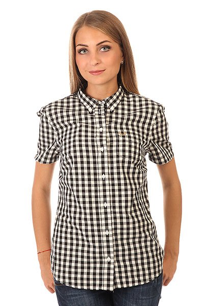 Рубашка в клетку женская Fred Perry Gingham Shirt Black/White поло детское fred perry my first fred perry shirt black