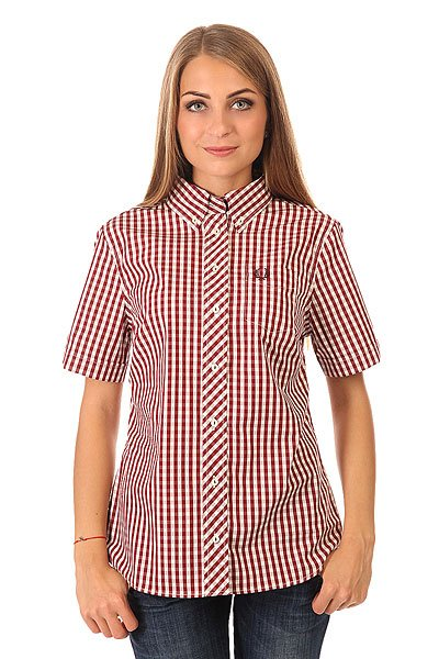 ������� � ������ ������� Fred Perry Button Down Gingham Shirt Burgundy/White