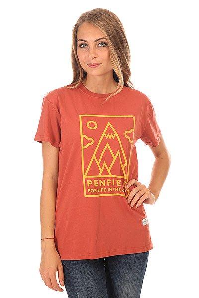 Футболка женская Penfield Peaks T Shirt Red<br><br>Цвет: коричневый<br>Тип: Футболка<br>Возраст: Взрослый<br>Пол: Женский