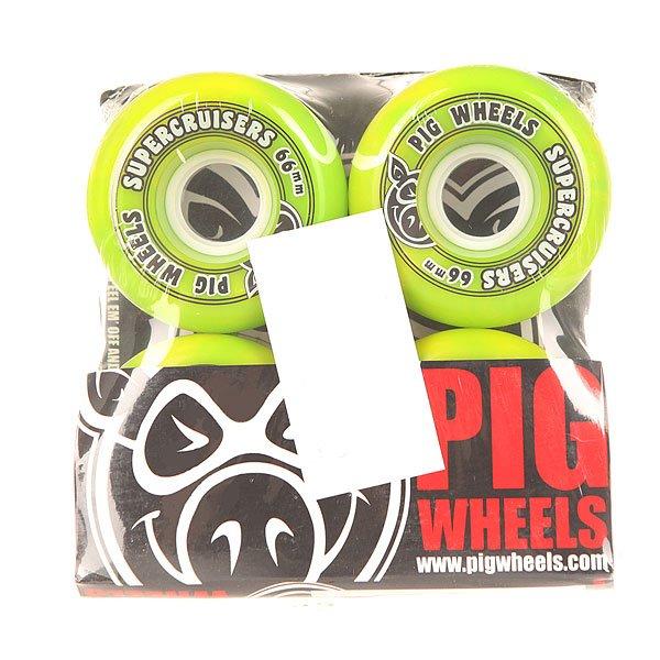Колеса для скейтборда для лонгборда Pig Supercruiser New Green 85A 66 mmДиаметр: 66 mm    Жесткость: 85A    Цена указана за комплект из 4-х колесКлассические колеса для лонгбордаPig Supercruiser с яркой, замиксованной расцветкой.Характеристики:Диаметр: 66 мм. Жесткость: 85А.Логотип Pig. Состав: 100% полиуретан.<br><br>Цвет: зеленый<br>Тип: Колеса для лонгборда<br>Возраст: Взрослый<br>Пол: Мужской