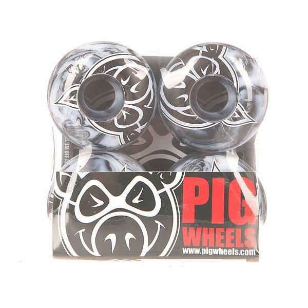 Колеса для скейтборда для скейтборда Pig Head Swirls New Black/Grey 100A 54 mm