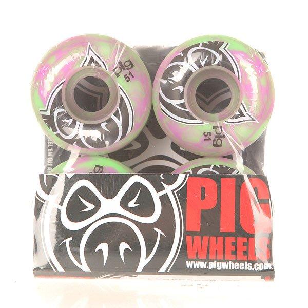 Колеса для скейтборда для скейтборда Pig Head Swirls New Green/Pink 100A 51 mmДиаметр: 51 mm    Жесткость: 100A    Цена указана за комплект из 4-х колесКомплект колес для скейтборда от Pig. Колеса созданы по формуле hard park для равномерного износа.Технические характеристики: Материал - полиуретан.Диаметр 51 мм.Жесткость 100А.Рифленая поверхность.Форма Speed-Line.Комплект из 4 колес.<br><br>Цвет: розовый,зеленый<br>Тип: Колеса для скейтборда<br>Возраст: Взрослый<br>Пол: Мужской