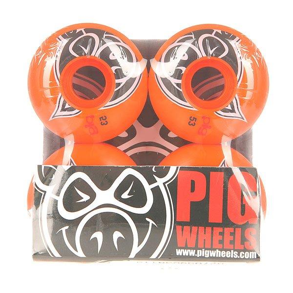 Колеса для скейтборда для скейтборда Pig Head Orange 100A 53 mmДиаметр: 53 mm    Жесткость: 100A    Цена указана за комплект из 4-х колесУдивительные колеса с отличным качеством, которые могут работать столько, сколько Вы можете!Технические характеристики: Материал - полиуретан.Диаметр 53 мм.Жесткость 100А.Рифленая поверхность.Комплект из 4 колес.<br><br>Цвет: оранжевый<br>Тип: Колеса для скейтборда<br>Возраст: Взрослый<br>Пол: Мужской