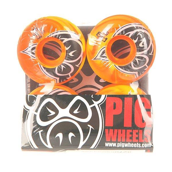 Колеса для скейтборда для скейтборда Pig Head Swirls New Orange 100A 53 mm