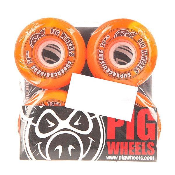 Колеса для скейтборда для лонгборда Pig Supercruiser New Orange 88A 70 mmДиаметр: 70 mm    Жесткость: 88A    Цена указана за комплект из 4-х колесКачественные колеса из  полиуретана в контрастном дизайне, благодаря которому создается яркий эффект в процессе движения колес. Супер мягкие колеса от Pig позволят наслаждаться непринужденным катанием.Технические характеристики: Материал - полиуретан.Диаметр 70 мм.Жесткость 88А.Гладкая поверхность колес.Комплект из 4 колес.<br><br>Цвет: оранжевый<br>Тип: Колеса для лонгборда<br>Возраст: Взрослый<br>Пол: Мужской