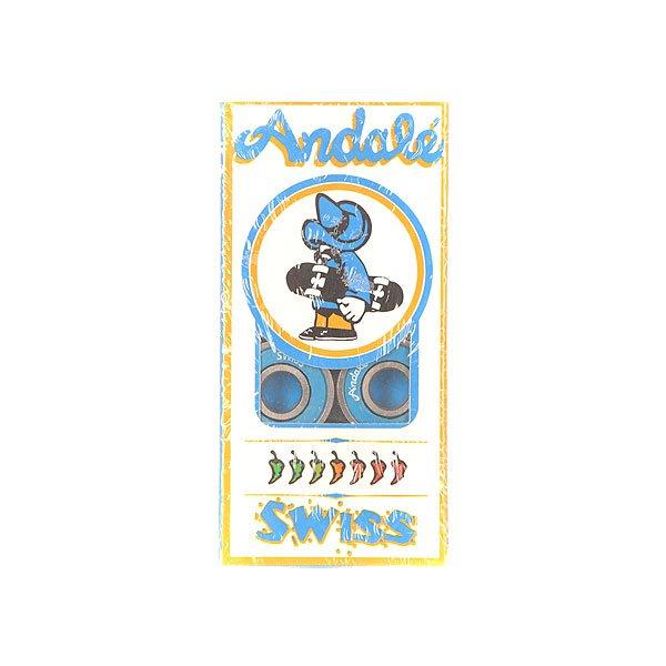 Подшипники для скейтборда Andale Swiss BlueСовершенно новые, профессиональные подшипники от Andale, предварительно смазанные для гладкой и быстрой езды. Подшипники стандартного размера обеспечивают наилучшую производительность и долговечность.Технические характеристики: Высококачественная сталь и улучшенная полированная поверхность.Один бесконтактный, съемный резиновый щит для легкой чистки.Комплект из  8 подшипников.<br><br>Цвет: синий<br>Тип: Подшипники<br>Возраст: Взрослый<br>Пол: Мужской